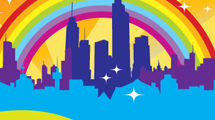 Rascacielos y arco iris