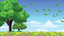 Árbol en campo con flores