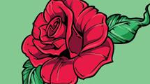 Rosa roja para tatuaje