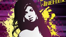 Rostro de Amy Winehouse con fondo violeta y amarillo