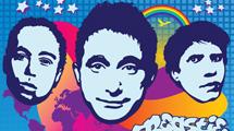 Rostros de la banda Beastie Boys con fondo de colores