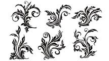 Seis decoraciones florales en negro