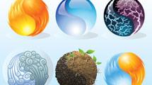 Seis esferas con elementos naturales
