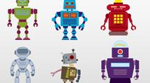 Seis robots estilo retro vectoriales