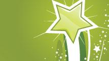 Set con estrellas verdes
