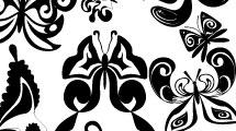 Set con mariposas en blanco y negro