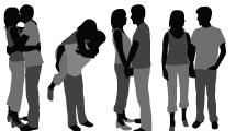 Set con siluetas de parejas