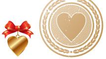 Set corazones en rojo y dorado