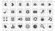 Set de iconos estilo glossy en blanco y gris