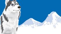 Siberiana sentada en las montañas