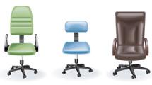 Sillas de oficina realistas en nueve modelos