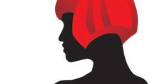 Silueta con pelo rojo