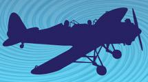 Silueta de avión en vuelo azul