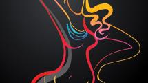 Silueta de bailarina con colores