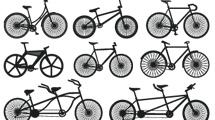 Silueta de bicicletas variadas en negro