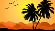 Silueta de isla tropical con aves