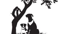 Silueta de árbol con dos perros al pie