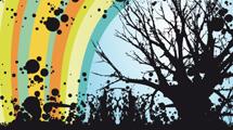 Silueta de árbol sobre fondo a colores