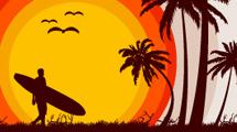 Silueta de surfista llegando a la playa