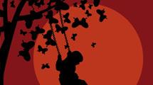 Silueta nocturna en negro y rojo