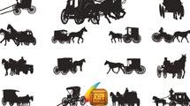 Siluetas de carruajes antiguos