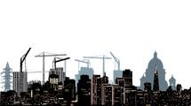 Siluetas de ciudades con grúas