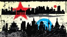 Siluetas de ciudades grunge