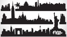 Siluetas de edificios negras