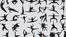 Siluetas de gente bailando en negro