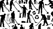 Siluetas de gente limpiando