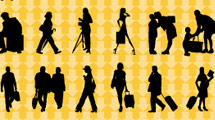 Siluetas de gente viajando en negro