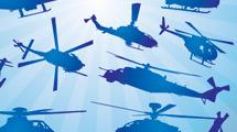 Siluetas de helicópteros