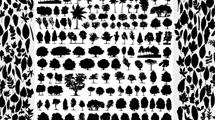 Siluetas de hojas y árboles negras