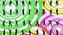 Siluetas de hombres bailando en diferentes posiciones