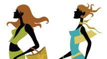 Siluetas de mujeres con accesorios