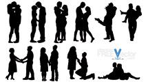 Siluetas de parejas románticas