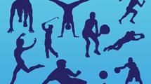 Siluetas de personas realizando deportes
