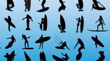 Siluetas negras de surfistas en varias posiciones