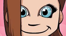 Simpática niña con grandes ojos celestes