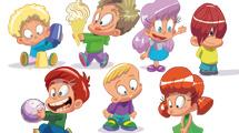 Simpáticos niños cartoon