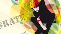 Skater sobre fondo a colores