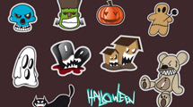 Stickers de Halloween con bordes en gris