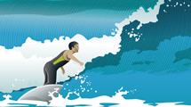 Surfista de negro y verde