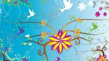 Swirls en celeste con aves