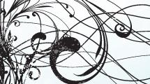 Swirls negros sobre celeste abstracto