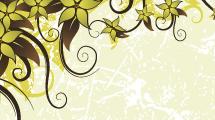 Tarjeta con flores verdes en las esquinas
