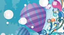 Tarjeta con globos aerostáticos