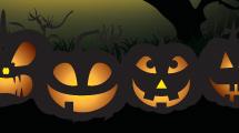 Tarjeta de Halloween: Grupo de calabazas