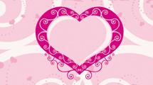 Tarjeta de San Valentín: Corazón rosado con adornos