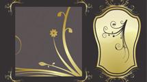Tarjeta marrón con elementos dorados